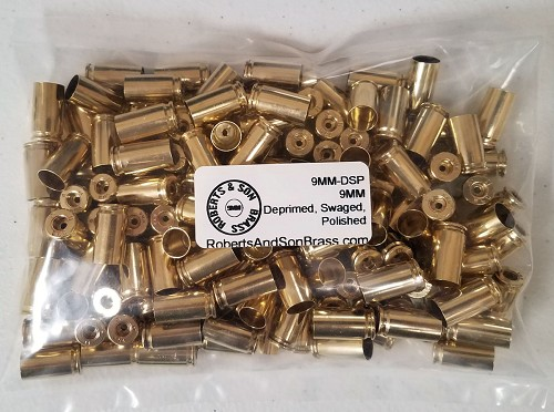 9MM Brass Deprimed, Swaged, Polished (150 Sample Pack)